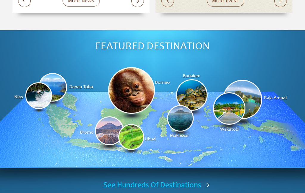 Indonesia Travel Website Tablet
